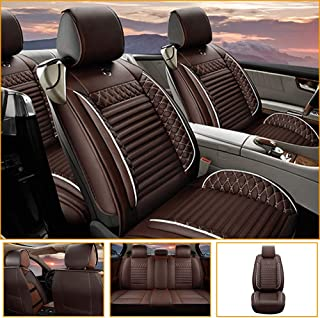 Jiahe Car Seat Cover for Dodge Charger Caliber Dart Universal Car Seat Protectors 5-Seat Full Set Artificial Leather Waterproof,Easy Install,Coffee Standard