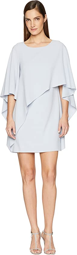 Flyaway Sleeve Boatneck Asymmetrical Drape Dress