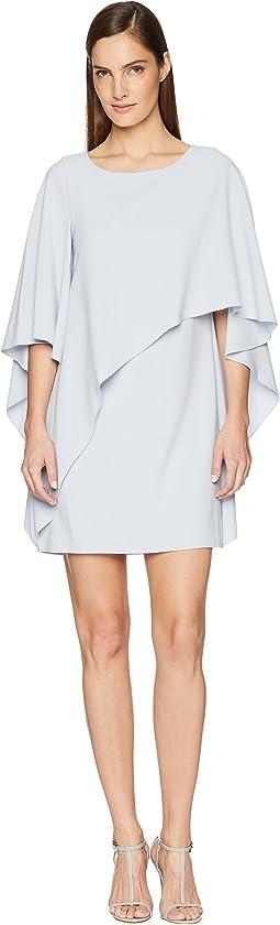 Flyaway Sleeve Boatneck Asymmetrical Drape Dress