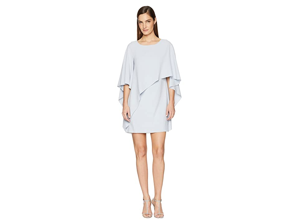 Halston Heritage Flyaway Sleeve Boatneck Asymmetrical Drape Dress (Breeze) Women
