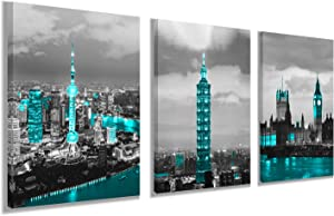 Big Ben in London for Decor Wall Art - Blue building Taipei 101 Building and Shanghai Oriental Pearl Tower Contemporary for Living Room Bedroom Office Wall Decor Ready to Hang