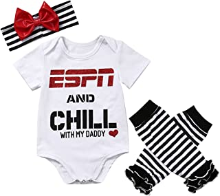 ABEE Baby Girls ESPN Chill My Daddy Mommy Bodysuit Socks Outfit Headband