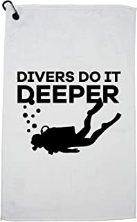 Hollywood Thread Divers Do It Deeper - Scuba Diving Funny Pun Golf Towel with Carabiner Clip