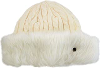 Khombu Womens Cold Weather Cable Knit Beanie with Faux Fur Cuff