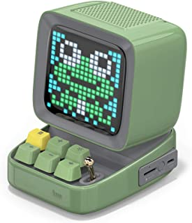 MZGX Retro Pixel Art Bluetooth Portable Speaker Alarm Clock DIY LED Screen By APP Electronic Gadget Gift Home Decoration (Color : Army Green, Set Type : Speaker)