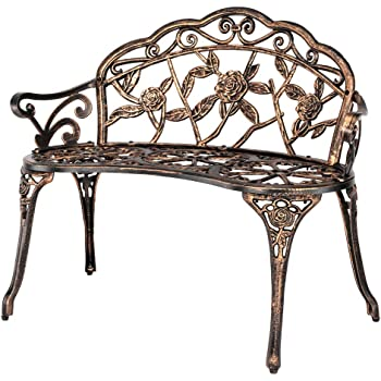 "VINGLI 38.5"" Patio Park Garden Outdoor Metal Rose Bench,Cast Iron Cast Aluminium Frame Antique Finish Chair,Accented Lawn Front Porch Path Yard Bronze Decor Deck Furniture for 2 Person Seat"