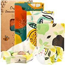 OrgaWise Reusable Beeswax Food Wrap Set of 6,Organic Cotton Bees Wax Wraps for Food Storage,Washable Eco Friendly Plastic ...