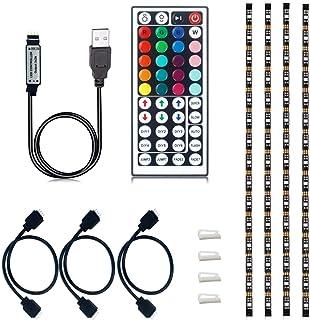 VIPMOON USB TV Backlight, Multi-Color 5050 RGB Flexible LED Strip Light with 44key Remote, Background Bias Lighting for HD...