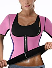 DoLoveY Women Sauna Sweat Vest with Sleeves Neoprene Weight Loss Shirt Workout Body Shaper Slimming Tank Top