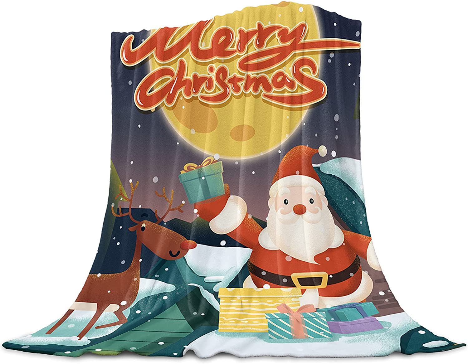Flannel Fleece Throw Blanket 50x60 Happy All stores are sold Snowfl inches Christmas Max 58% OFF