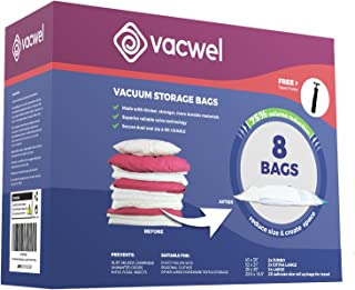 Vacwel Ziplock Storage Bags Vacuum Space Savers for Clothing Storage, Medium, Large & Jumbo Vacuum Storage Bags (2 of Each) + 2 Non-Vacuum Compression Bags (Total: 8 Bags + 1 Free Travel Pump)