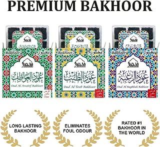 Dukhni Bakhoor - Oud Al Awatef, Oud Al Teeb, Oud Al Raghbah - Set of 3 Tray Premium BAKHOOR Incense - 9 Pieces in Each Box. Perfect for Namaaz, Yoga, Prayer, Meditation, Relaxation, Unwinding