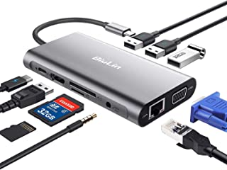 محول HDMI USB C موزع HDMI من بيولين 10 في 1 من النوع C مع إيثرنت RJ45 1000M ، HDMI 4K ، VGA ، USB 3.0 ، منفذ الشحن PD 2.0 ...
