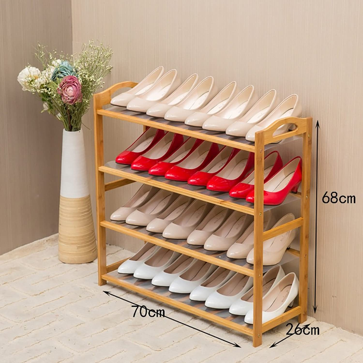 shoes Bench Organizing Rack Nanzhu shoes Rack Simple Multi - Storey Shelves dustproof Household Shelves Simple Modern Assembly shoes Cabinet (color   B, Size   70CM)