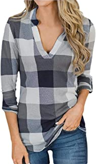 WSPLYSPJY Women's Casual 3/4 Roll Up Sleeve V-Neck Plaid Shirts Pullover Tunic Top
