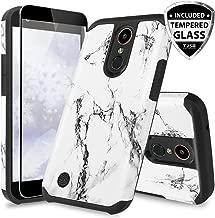 TJS Case for LG Aristo/Aristo 2/Aristo 2 Plus/Aristo 3/Aristo 3 Plus/Tribute Dynasty/Tribute Empire/Rebel 3 LTE/Phoenix 4 [Full Coverage Tempered Glass Screen Protector] Marble Phone Cover (White)