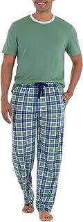 IZOD Men's Short Sleeve Jersey Knit Top and Lite Touch Fleece Pants Sleep Set