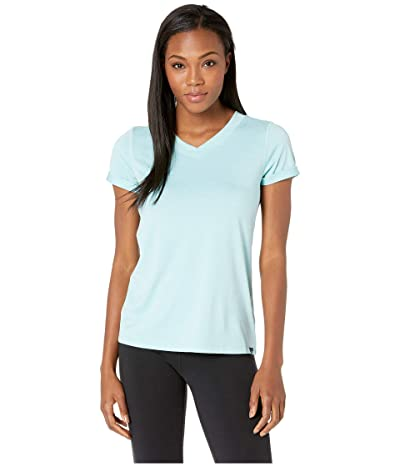 The North Face HyperLayer FD Short Sleeve V-Neck (Canal Blue Heather) Women