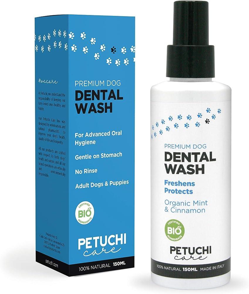 Petuchi, dentifricio spray per cani bio; combatte l`alitosi il tartaro e la placca; 100% naturale Petuchi Pets SL