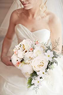 U'Artlines Bridal Wedding Bouquet Romantic Handmade Holding Flower Fake Peony Roses Pearl for Wedding Party Home Decoration (White Bouquet)