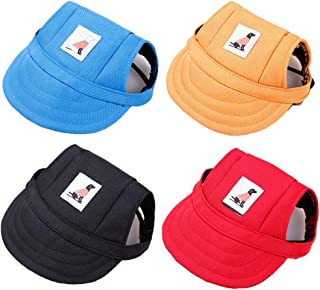 DaFuEn 4 Pieces Baseball Caps -Adjustable Dog Outdoor Sport Sun Protection Dog hat - for Small Medium and Large pet hat - ...