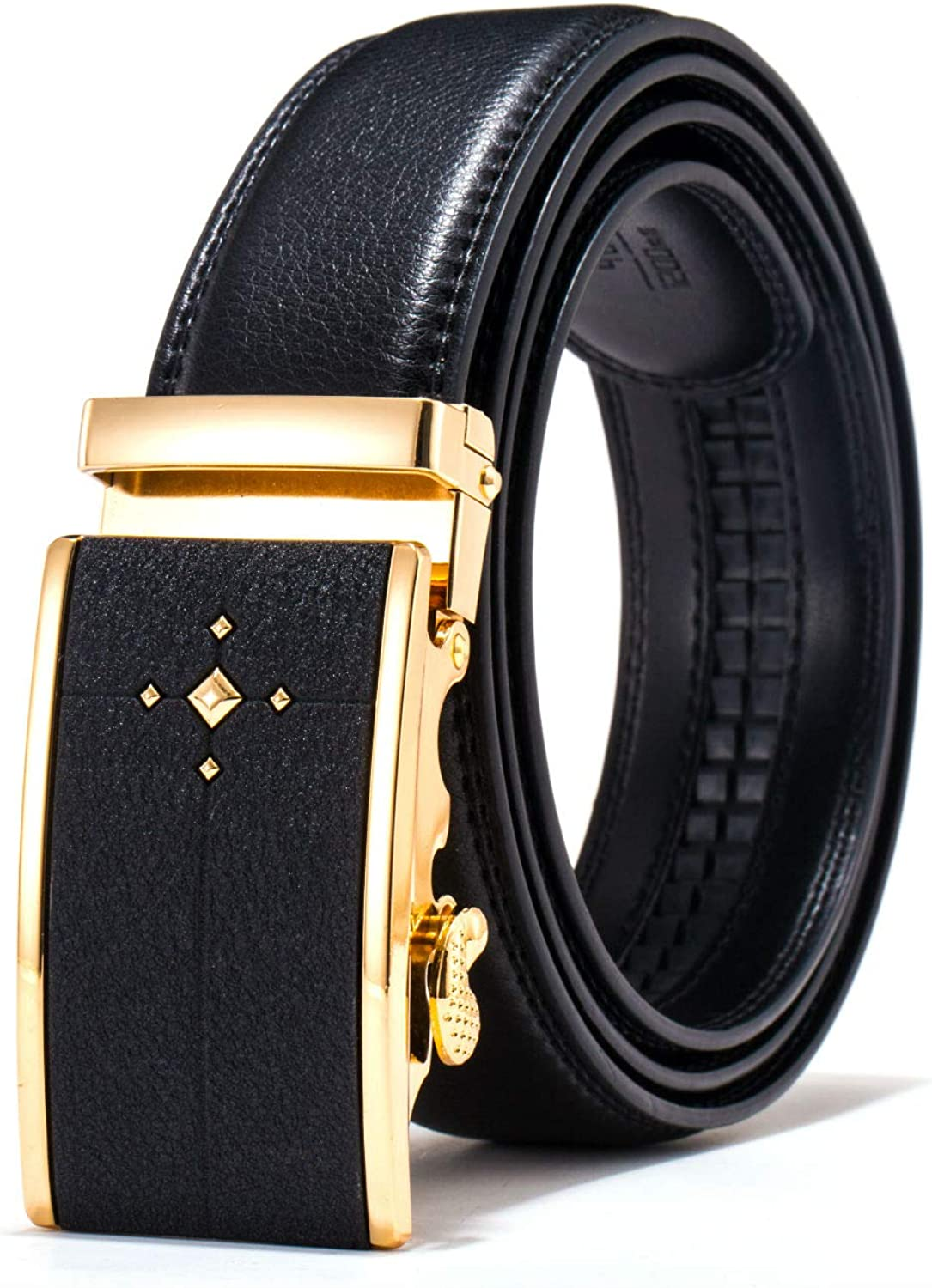 - HatButik Adjustable Leather Belt for for for Men with Classic Ratchet Metal Buckle 0a2135