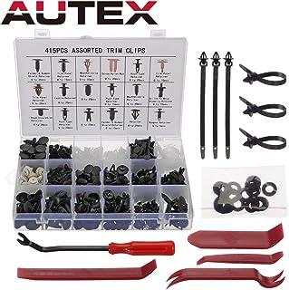 AUTEX 415 pcs remaches de plástico Clips para fijación Universal de nylon negro Remache de plástico con Herramienta de Desmontar