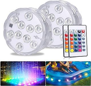 MAVIE RGB Bajo el Agua LED Luz/Lámpara con Mando a Distancia, 10 LED Multi Color Agua Densidad Parpadean Luz Brillante Para Boda/Fiesta/Navidad/piscina/Fish Tank Decoración(2 PACK)