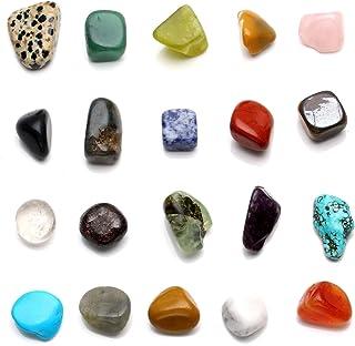Qgem - Juego de chakra. Rocas en bruto, mini gemas, 150 gr. Cristales pulidos para sanación, equilibrio, etc. Tamaño medio...