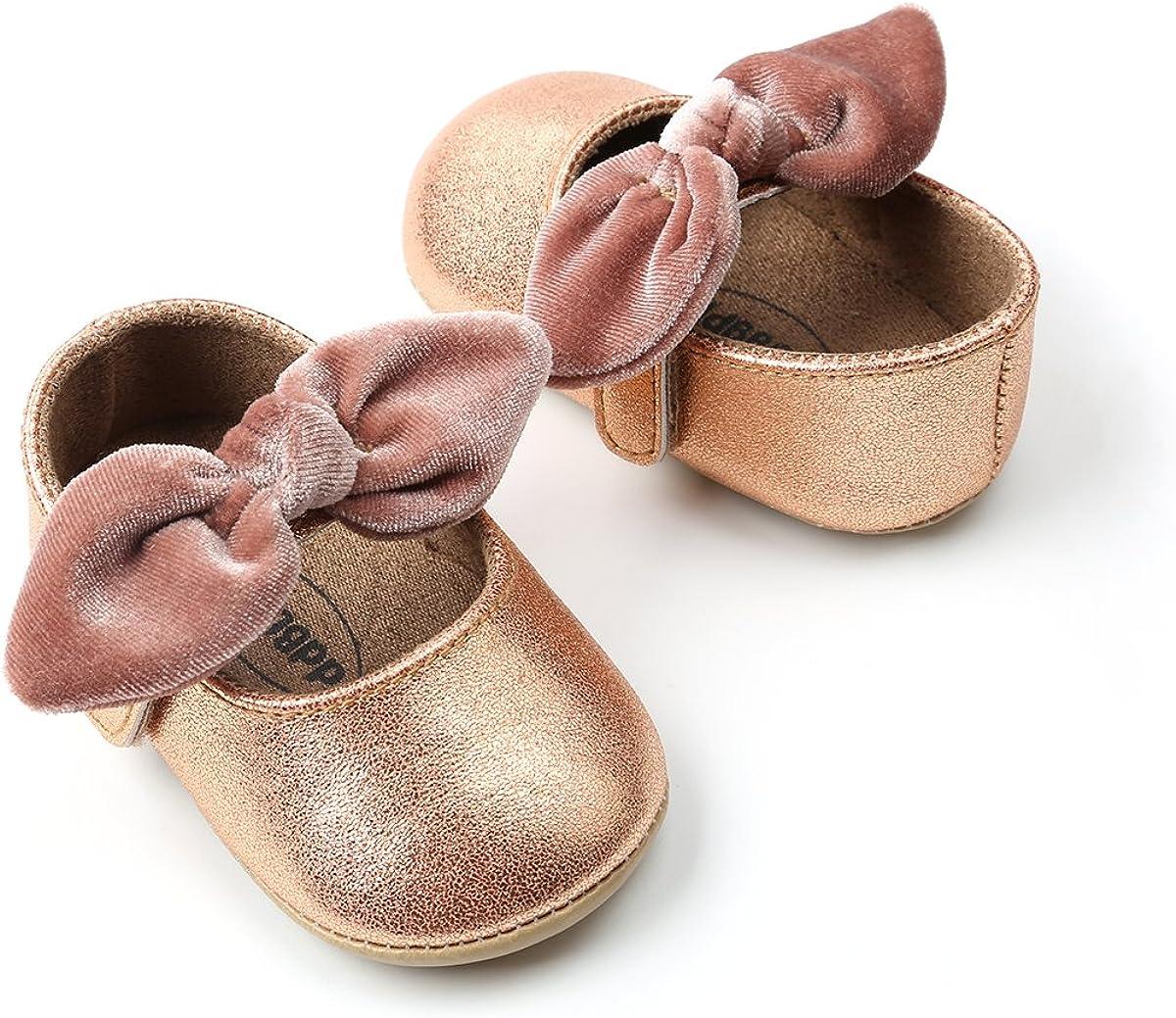Myleleya Baby Girls Mary Jane Flats with Bowknot Flowers,Princess Wedding Dress Ballet Shoes Non-Slip Toddler First Walkers Newborn Crib Shoe