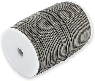 Auroris 100m Rolle Baumwollband rund 1mm Farbe: grau