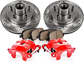 CCK12176 FRONT Powder Coated Red [2] Calipers + [2] Rotors + Quiet Low Dust [4] Ceramic Pads Performance Kit