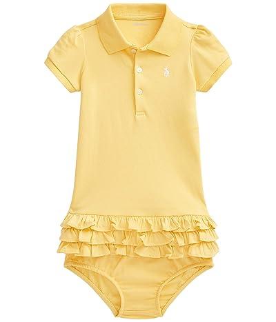 Polo Ralph Lauren Kids Interlock Solid Ruffle Dress (Infant) (Empire Yellow/White) Girl