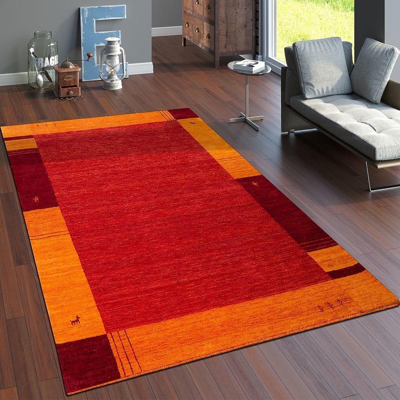 Paco Home Teppich Handgewebt Gabbeh Hochwertig 100% Wolle Borde In Terrakotta Orange, Grsse 80x150 cm