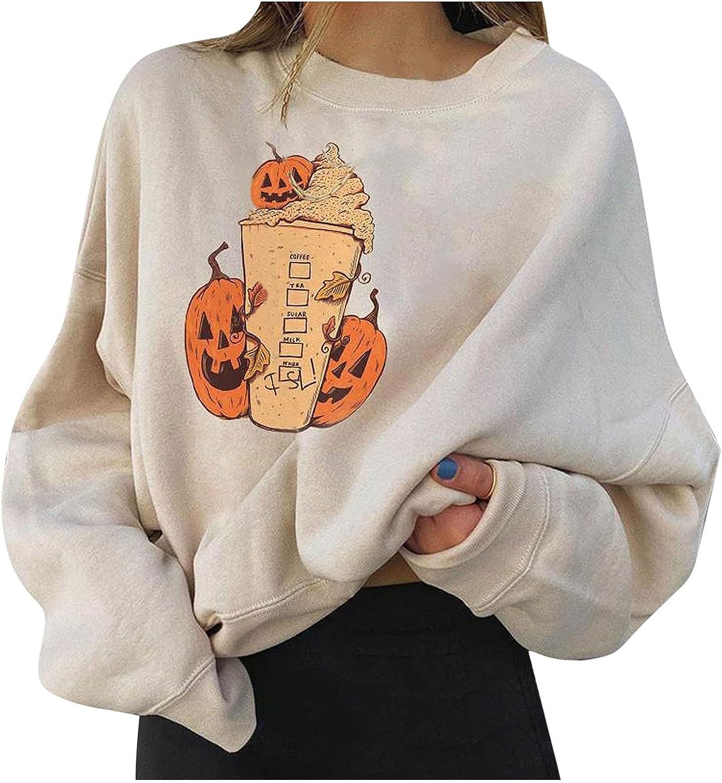 Halloween Women's Sweatshirt Pumpkin Coffee Sleeve Long Pu Ranking TOP7 OFFicial Print