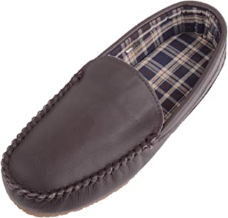 SNUGRUGS Mens Slip On Smart Leather Moccasin Loafer Slipper with Fabric Tartan Inner
