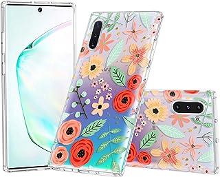 Lontect Compatible Galaxy Note 10 Case Slim Bumper Cushion Clear Floral Soft Flexible TPU Back Cover Transparent Scratch R...