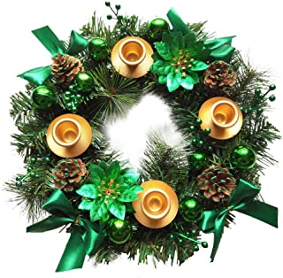 Elite Holiday Products Christmas Advent Wreath -Green Berry Advent Season Centerpiece Décor - Advent Candle and X-mas Candles Decorations - Advent Calendar Season Decoration