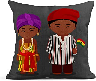Semtomn Decor Flax Throw Pillow Covers Case Ghanaian in National Flag Man and Woman Traditional Costume 16
