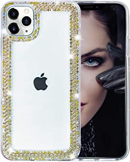 BONITEC Jesiya for iPhone 11 Pro Max Case 3D Glitter Sparkle Bling Case Luxury Shiny Crystal Rhinestone Diamond Gold Chain Clear Protective Case Cover Gold