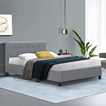 King Single Bed Frame, Artiss Fabric Upholstery Bed Base, Grey