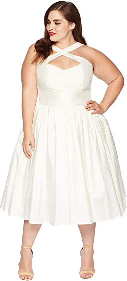 Plus Size 1950s Style Taffeta Cross Halter Joy Party Dress