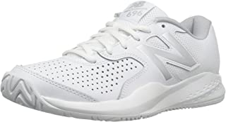 New Balance Women's WC696V3 Hard Court Tennis Shoe, White/Silver, 7 D US