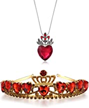 Evie Red Heart Tiara and Necklace Descendants Red Heart Crown Jewelry Set Queen of Hearts Costume Fan Jewelry Pre Teen Gift for Her