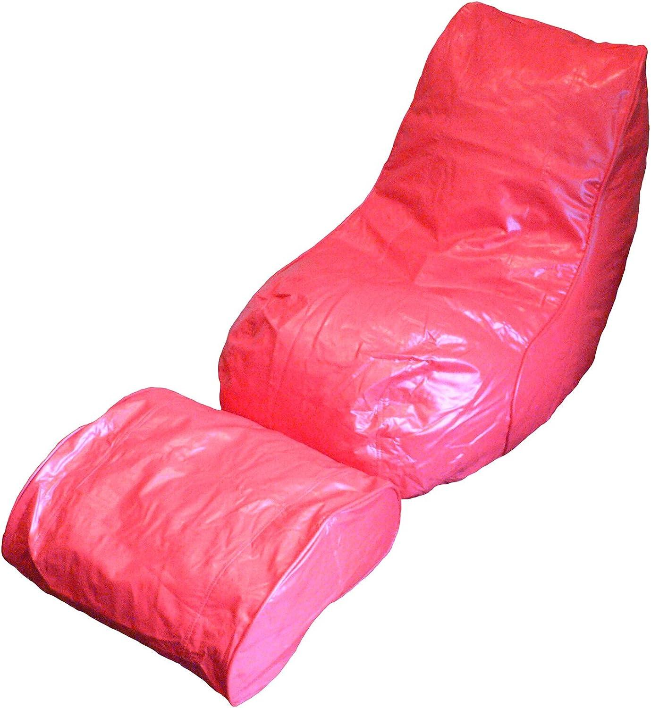 Boscoman - Vinyl Beanbag Adult Lounger w footrest Chair - Red (BOX L)