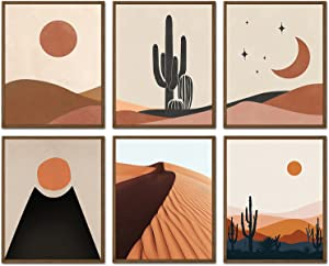 Boho Wall Art Decor Prints - Bohemian Picture 6 Pieces Modern Minimalist Desert Cactus Landscape Painting Sun Moon Poster Earthy Decoration For Dorm Living Room Bedroom Bathroom Decor UNFRAMED 8X10in