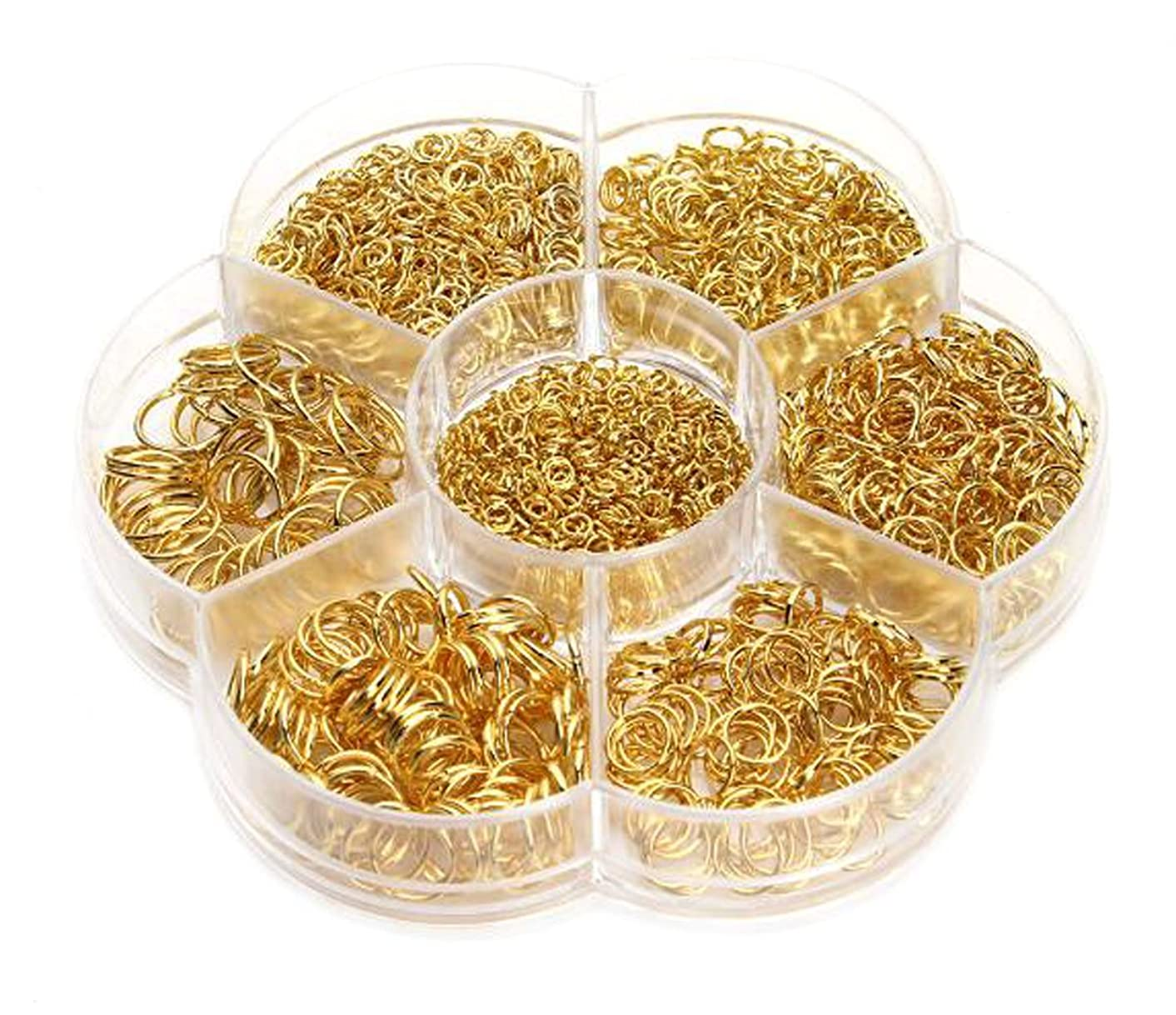 1450 Pcs Golden Open Circle Jump Rings - 1 Box 3mm 4mm 5mm 6mm 7mm 8mm 10mm Metal Monocyclic Manual Connection Ring for DIY Handicraft Accessories fatyashb25677928