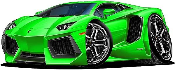 18 Lamborghini Aventador Green WALL DECAL Cartoon Car 3D Sticker Mural Kids Room Sports Den Man Cave Boys