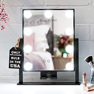 """REBEL POPPY Lighted Makeup Mirror with LED Lights and Phone Mount, 3 Lighting Touch Control, 14.5"""" x 12"""", Fogless - Counter Top Mirrors - MINI, Black"""