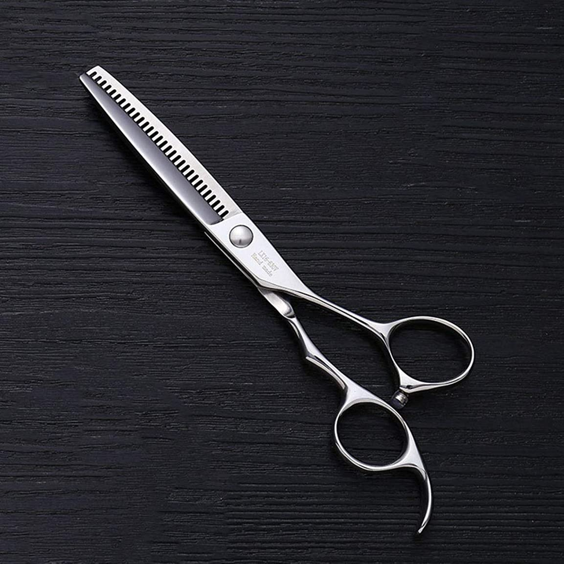唯物論悪のあいにくトリミングシザー 6インチ美容院ステンレス鋼プロフェッショナルバリカン、30歯魚骨カット薄い剪断ヘアカット鋏ステンレス理髪はさみ (色 : Silver)